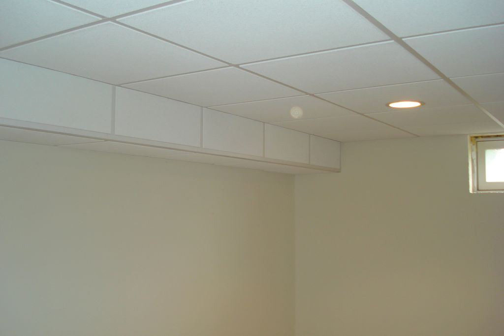 beam with ceiling tile meanwhile preserving the ceiling height